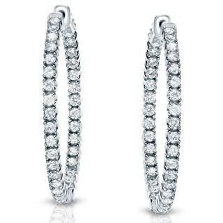 14k Gold Small 1ct TDW Diamond Hoop Earrings by Auriya