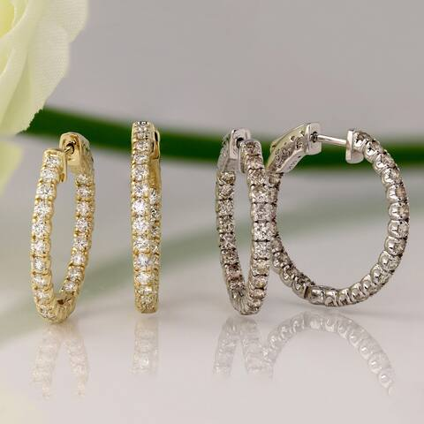 Auriya 14k Gold 2 carat TW Medium Diamond Hoop Earrings - 0.86-inch