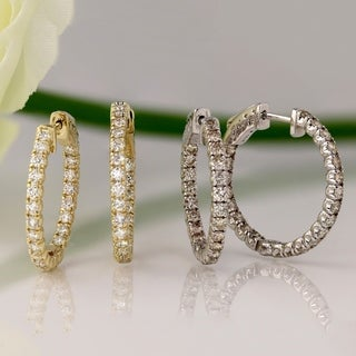 14k Gold 2ct TDW Inside-out Diamond Hoop Earrings