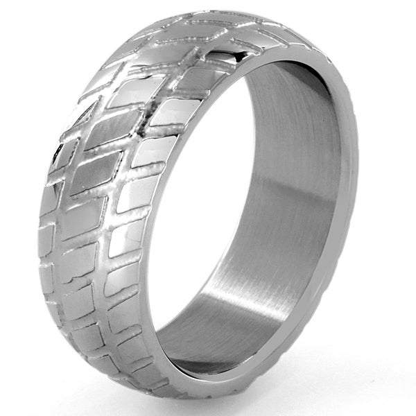 Stainless Steel Patterned Dome Ring