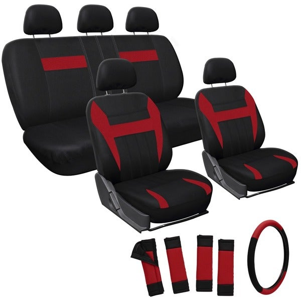 Oxgord Red 17-piece Car Seat Cover Automotive Set - Universal Fit for Cars, Trucks, SUVs or Vans