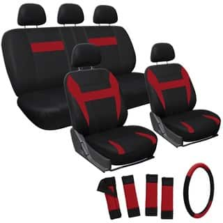 OxGord Black Red 17 Piece Universal Automotive Car Seat Cover Set
