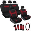 OxGord Black/Red 17-piece Universal Automotive Car Seat Cover Set