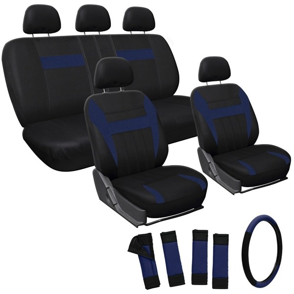 Oxgord Blue 17-piece Car Seat Cover Automotive Set - Universal Fit for Cars, Trucks, SUVs and Vans