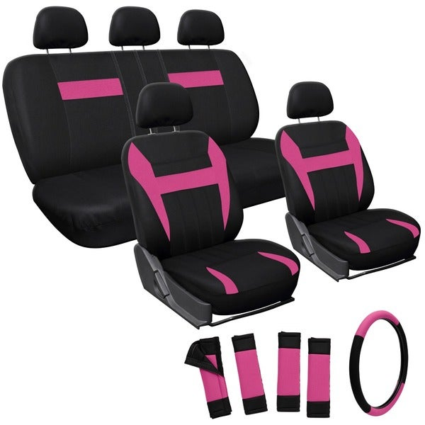 Oxgord Pink 17-piece Car Seat Cover Automotive Set