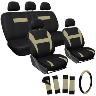 Oxgord Tan/ Black 17-piece Car Seat Cover Automotive Set