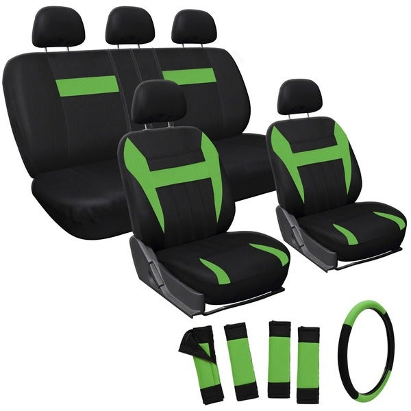 Oxgord Green 17-piece Car Seat Cover Automotive Set, Universal Fit for Cars, Trucks, SUVs, or Vans