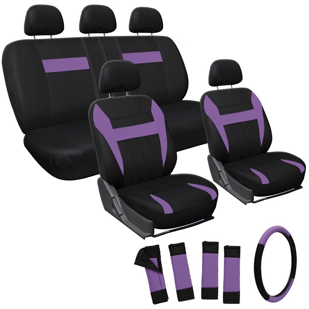 The Car Cover Oxgord Purple 17-piece Car Seat Cover Autom...
