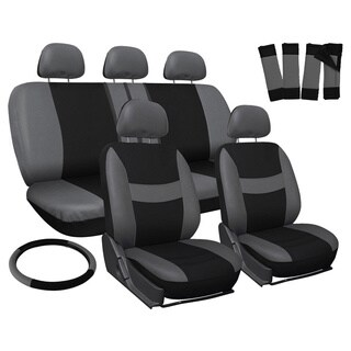 Oxgord Grey 17-piece Full Car Seat Cover Automotive Set - Universal Fit for Cars, Trucks, SUVs and Vans