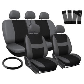 Oxgord Grey Universal Fit 17-piece Full Car Seat Cover Set