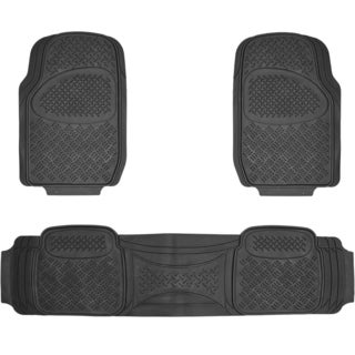 BDK Diamond 3-piece Black Heavy Duty Rubber Car Floor Mat Set