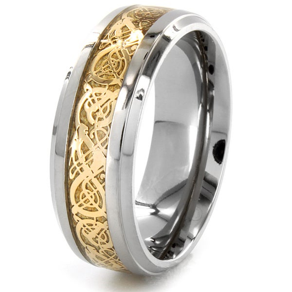 Titanium Inlaid Goldtone Scroll Design Ring