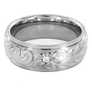 Men's Titanium Cubic Zirconia Engraved Floral Design Band Ring (8mm)