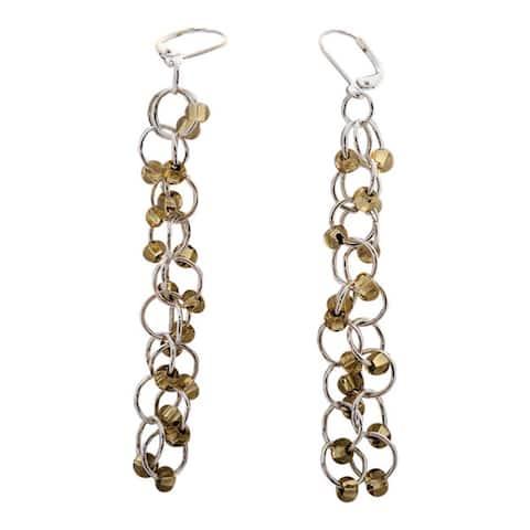 Silver Lined Gold Czech Chain Maille Earrings - Multi