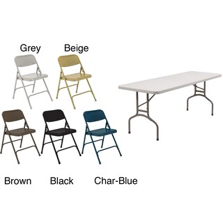 NPS Rectangular Five-piece Lightweight Table and Folding Chairs Set (5 options available)