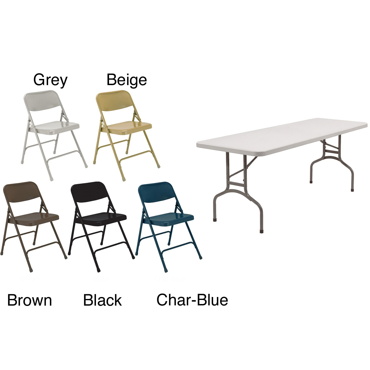 NPS Rectangular Five-piece Lightweight Table and Folding Chairs Set - Thumbnail 0