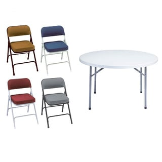 NPS Seven Piece 48 Inch Plastic Round Table And Folding Chairs Set