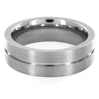 Titanium Center Groove Brushed Ring
