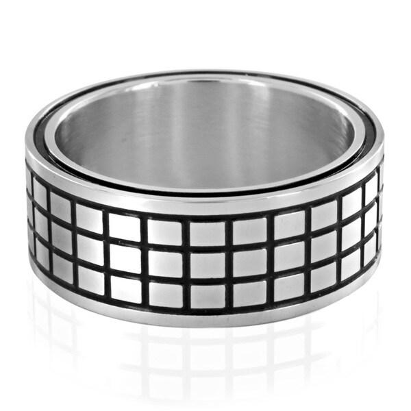 Stainless Steel Black Grid Ring