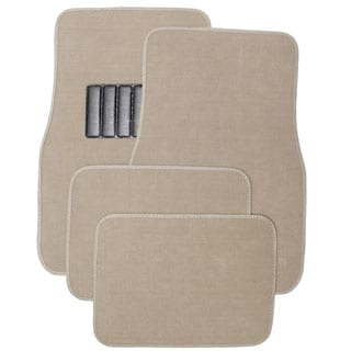 Oxgord Car Floor Mat Tan Carpet 4 Piece Front and Rear Set