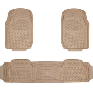Oxgord Diamond Beige PVC Floor Mats (Set of 3)