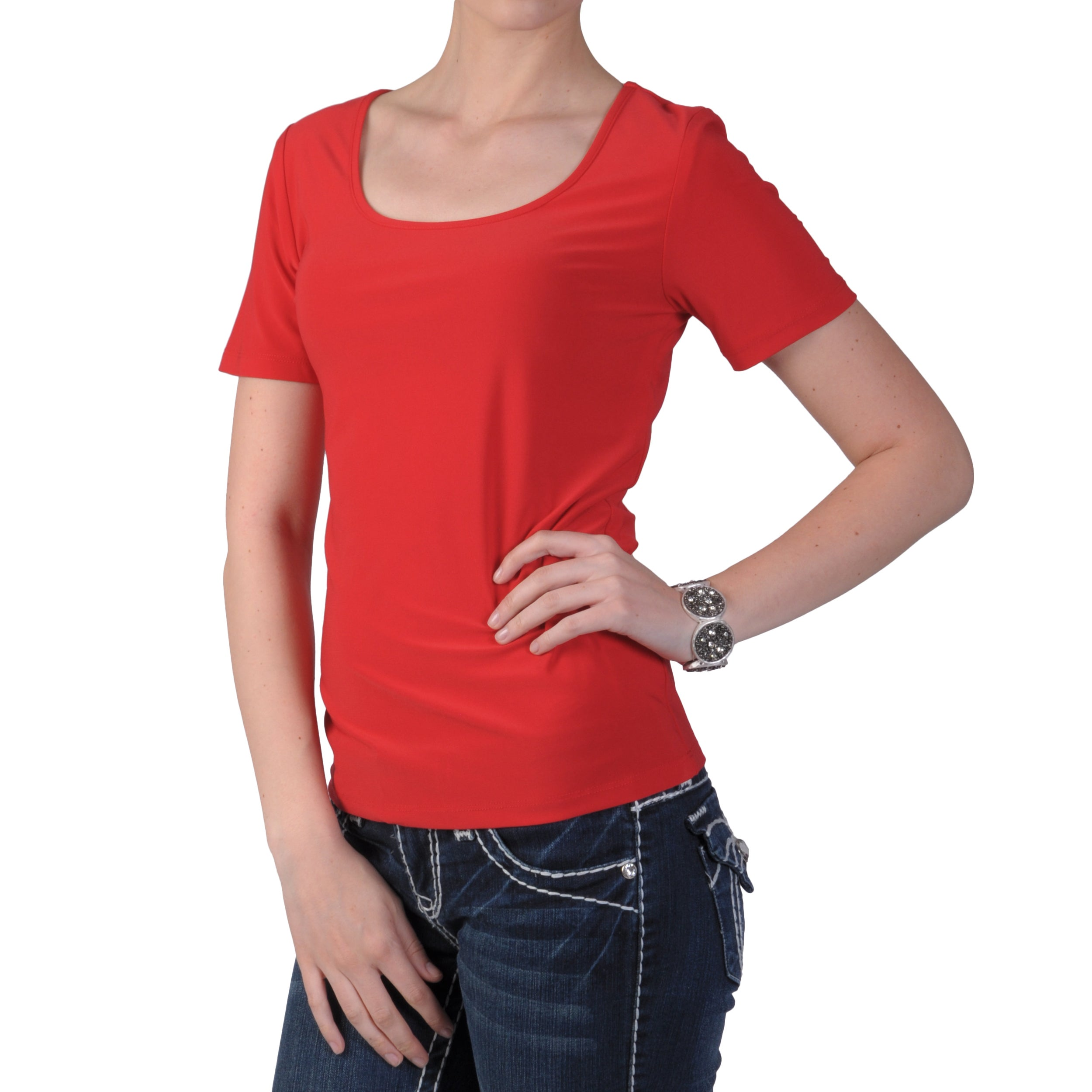 Tressa Designs Women's Stretchy Short-sleeve Scoop Neck Top
