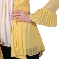 Tressa Designs Women's Pleated Detail Open Front Chiffon Cardigan