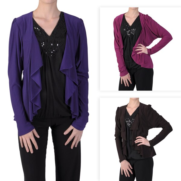 Tressa Designs Women's Stretchy Open Front Ruffled Cardigan