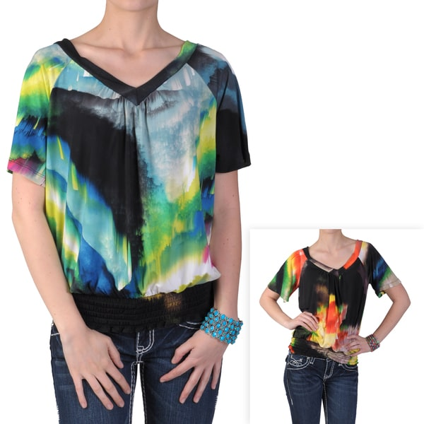 Tressa Designs Women's Smocked Waist V-neck Short-sleeve Top