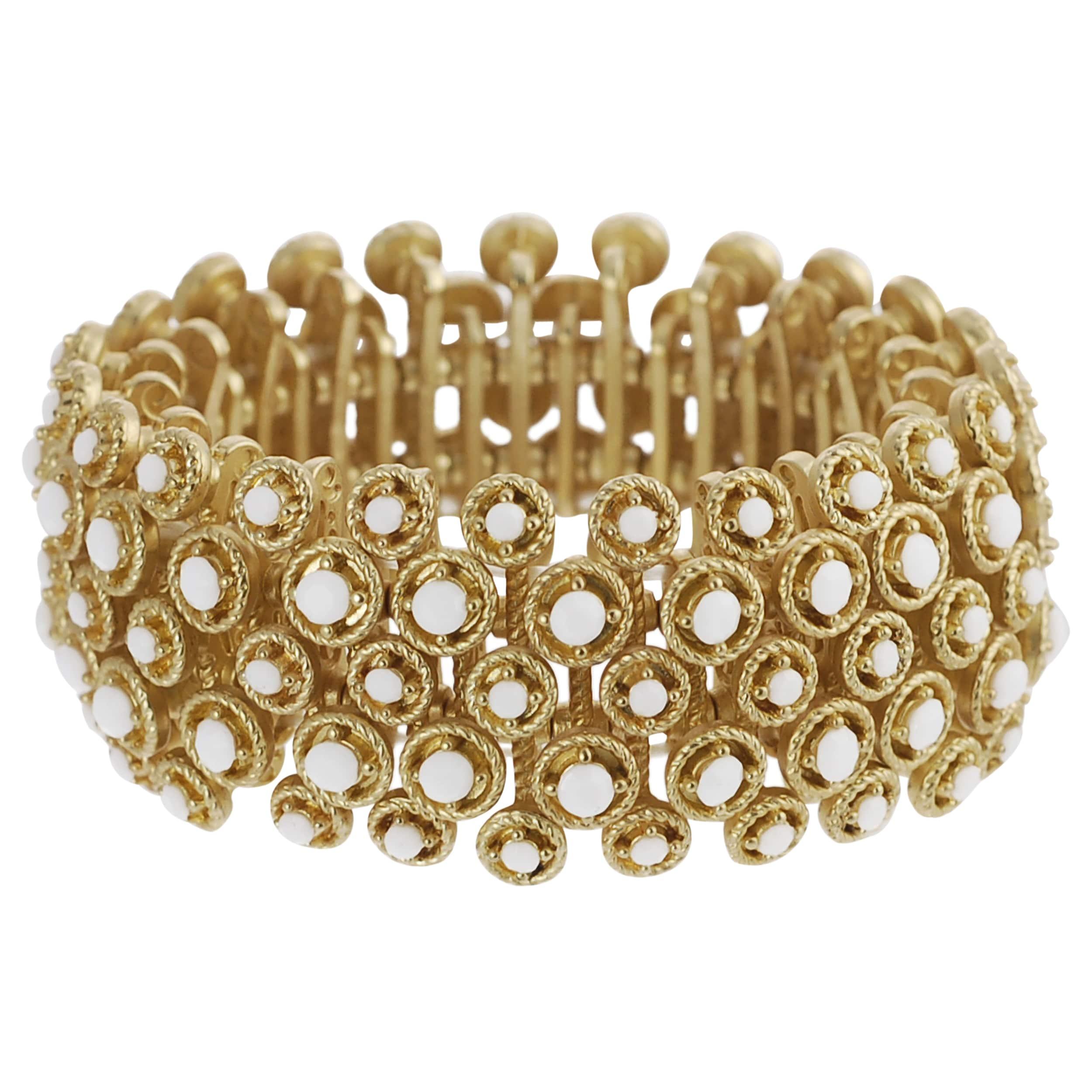 Journee Collection Goldtone Acrylic Bead Vintage Stretch Bracelet