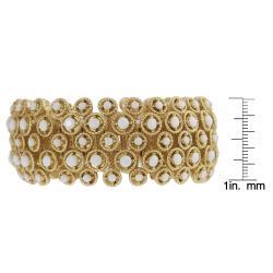 Journee Collection Goldtone Acrylic Bead Vintage Stretch Bracelet - Thumbnail 2