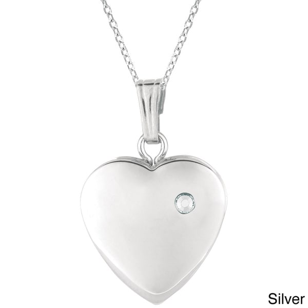Sterling Silver Diamond Accent Heart-shaped Locket Necklace