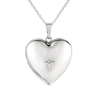 Gold over Silver or Sterling Silver Diamond Accent Heart-shaped Locket Necklace