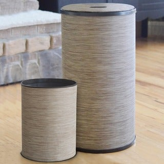 1530 LaMont Home Sage/ Brown Cambria Round Hamper and Wastebasket Set