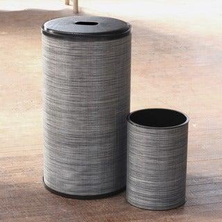 1530 LaMont Home Black/ Silver Cambria Round Hamper and Wastebasket Set