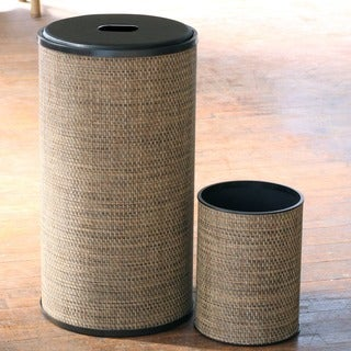 1530 LaMont Home Multi Brown Roxie Round Hamper and Wastebasket Set