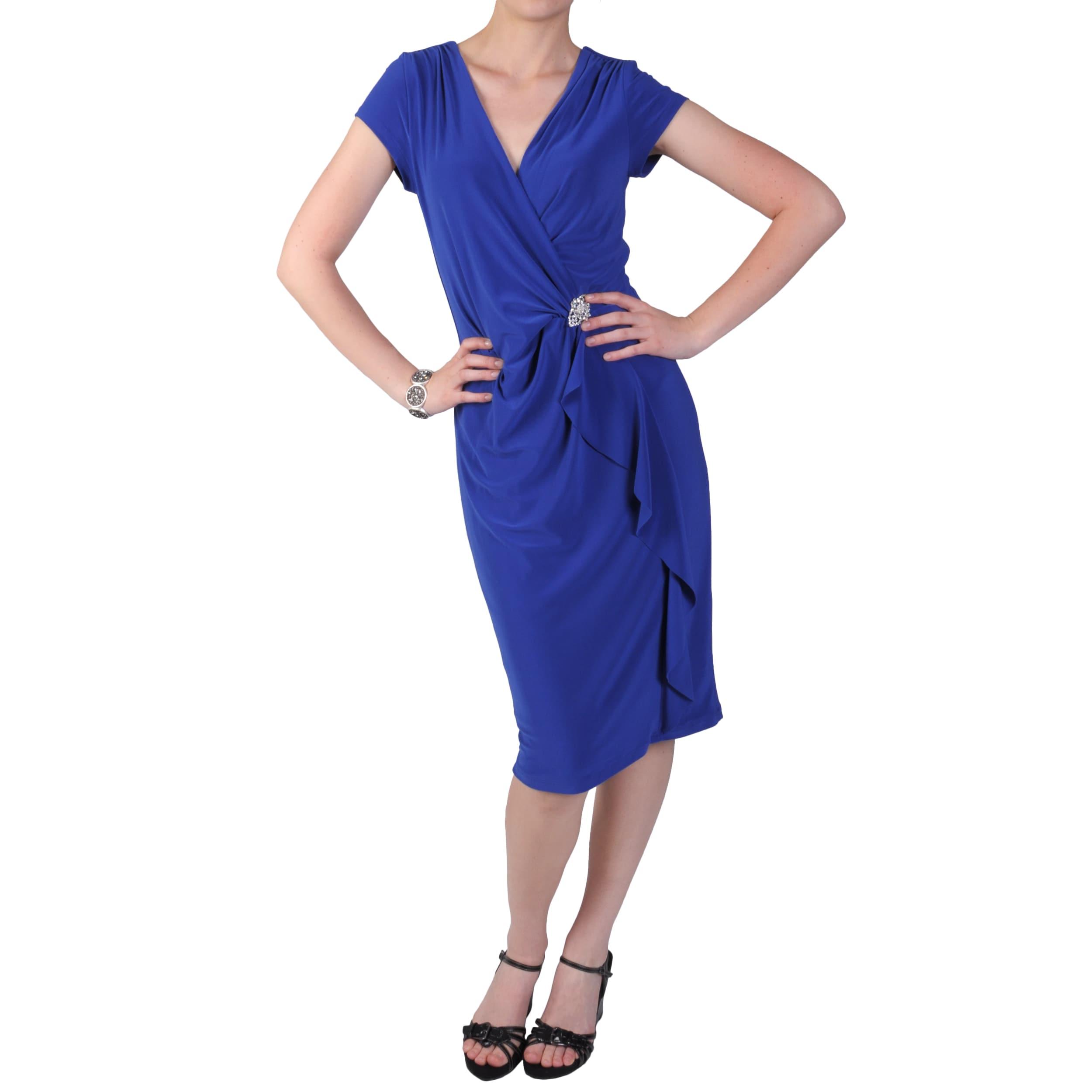 Tressa Designs Women's Size L Ruffled V-neck Dress