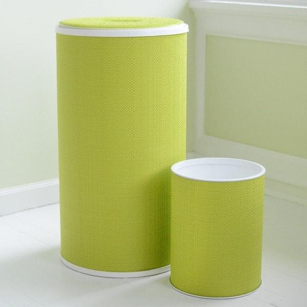 1530 LaMont Home Lime Brights Round Hamper and Wastebasket Set
