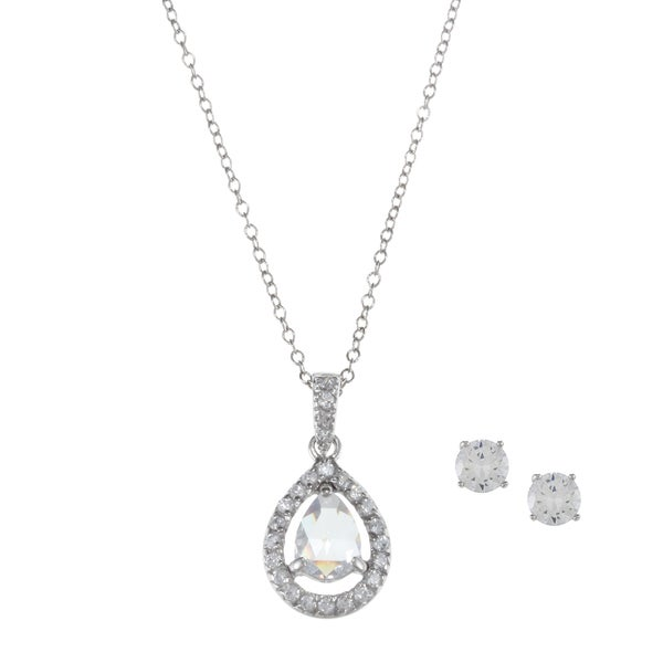 Sunstone Sterling Silver Cubic Zirconia Faceted Teardrop Jewelry Set