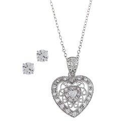 Sunstone Sterling Silver Cubic Zirconia Filigree Heart Jewelry Set