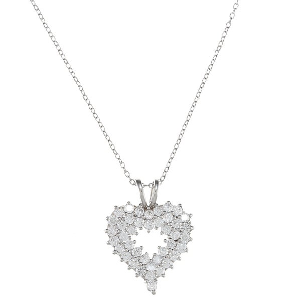 Sunstone Sterling Silver Cubic Zirconia Heart Cluster Necklace