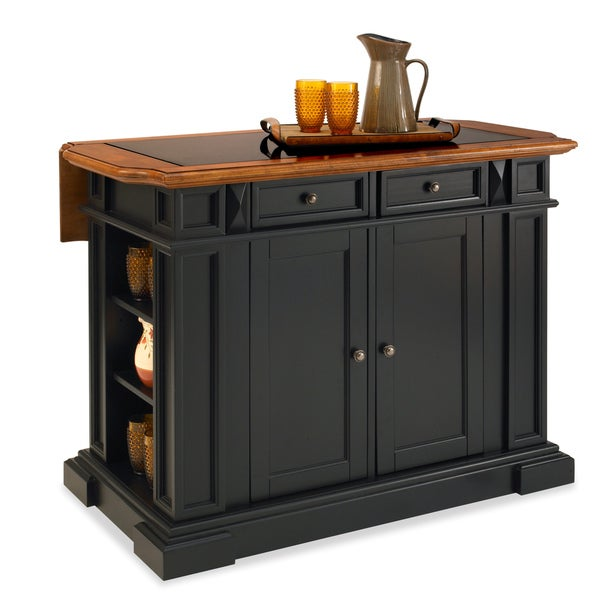 Home Styles Black and Distressed Oak Deluxe Traditions Kitchen Island