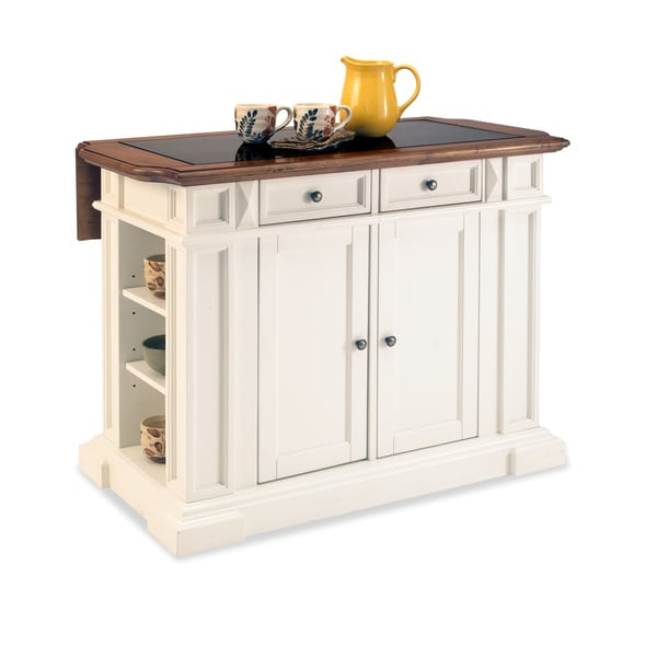 Home Styles White and Distressed Oak Deluxe Traditions Kitchen Island