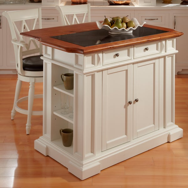 Deluxe Traditions White Distressed Oak-finished Island and Two Bar Stools
