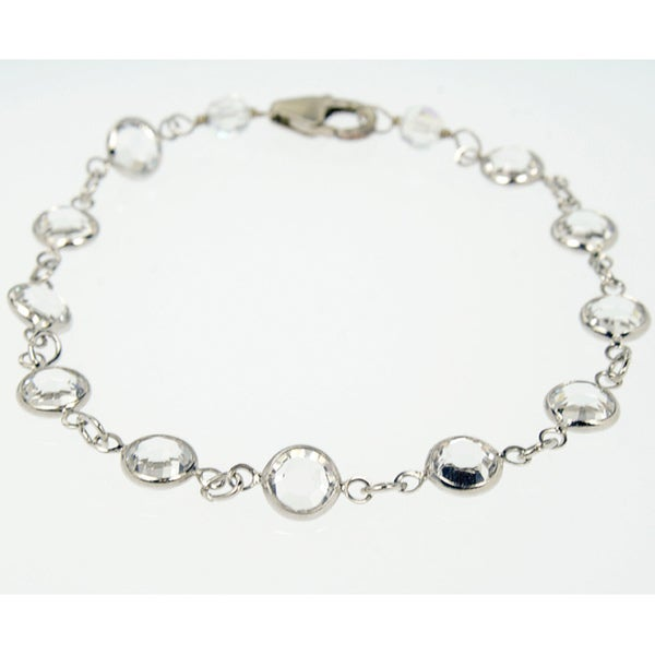 Rafia Sterling Silver Crystal Bracelet