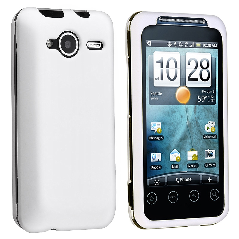 BasAcc White Snap-on Rubber Coated Case for HTC EVO Shift 4G