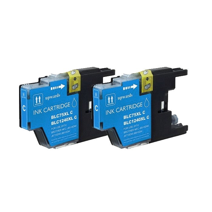 Brother LC75 Compatible Cyan Ink Cartridge (Pack of 2)