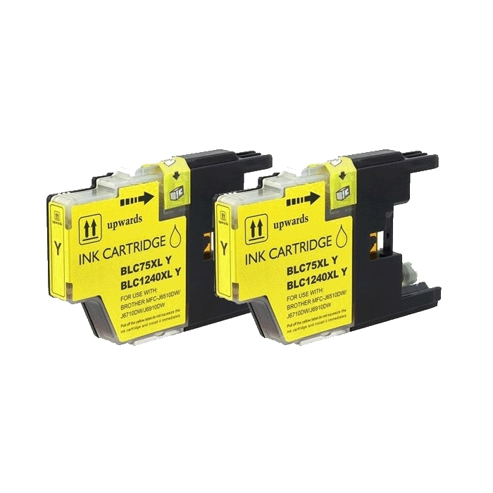 Brother LC75 Compatible Yellow Ink Cartridge (Pack of 2)