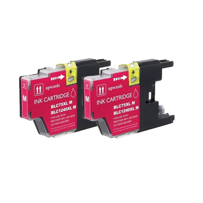 Brother LC75 Compatible Magenta Ink Cartridge (Pack of 2)