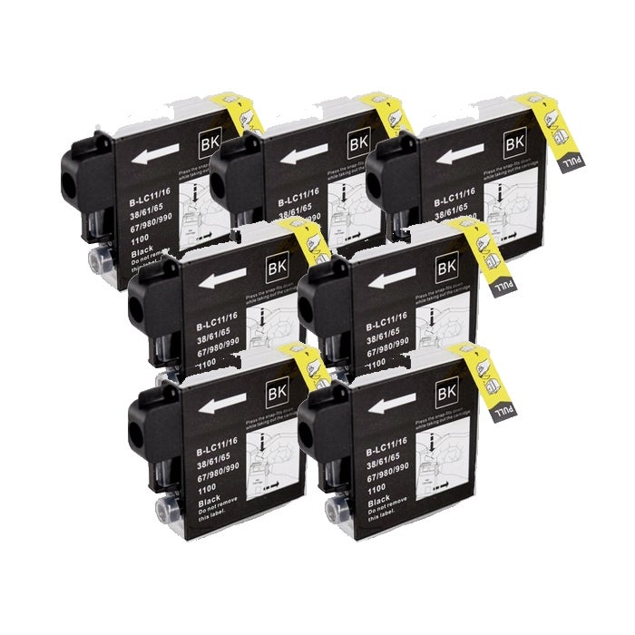 Brother LC65 Compatible Black Ink Cartridge (Pack of 7)
